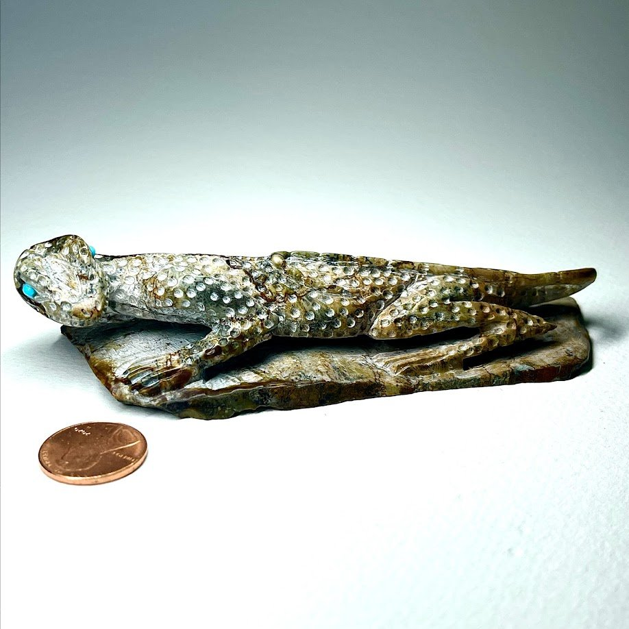 Staley Natewa | Picasso marble | Lizard | Price: $900. plus shipping, depending on your location | Texas sales tax applies to Texas Residents! | CLICK  IMAGE for more views & information. | Authentic Zuni fetishes direct from Zuni Pueblo to YOU  from Zunispirits.com!