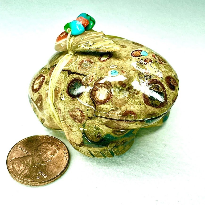 Lena Boone | Fossil Jasper | Frog |   shipping, depending on your location | Texas sales tax applies to Texas Residents! |  CLICK  IMAGE for more views & information. | Authentic Zuni fetishes direct from Zuni Pueblo to YOU  from Zunispirits.com!