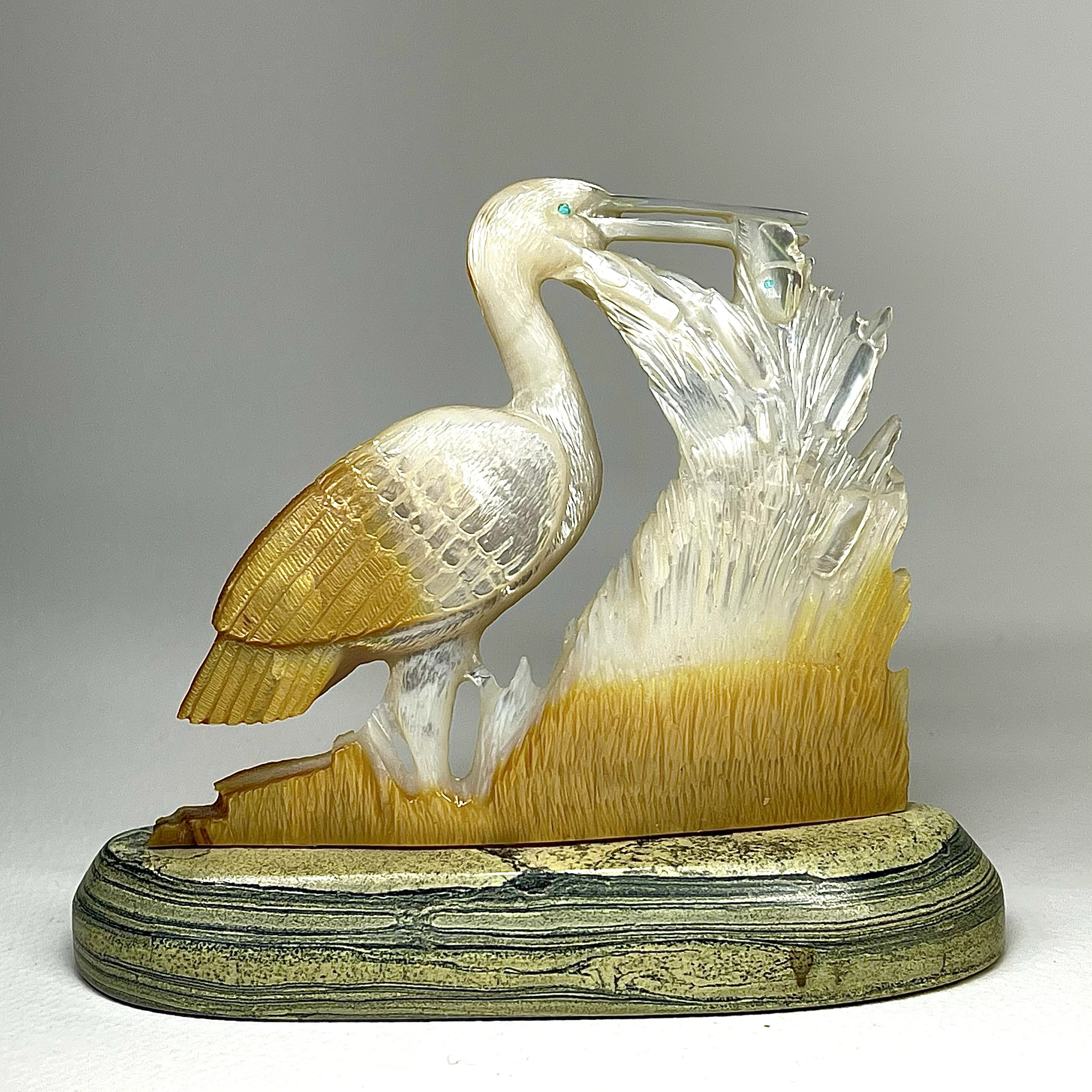 Herbert Him, Sr. | Gold-lipped Mother of Pearl | Heron  | Price: $695.  +   shipping, depending on your location | Texas sales tax applies to Texas Residents! |  CLICK  IMAGE for more views & information. | Authentic Zuni fetishes direct from Zuni Pueblo to YOU  from Zunispirits.com!