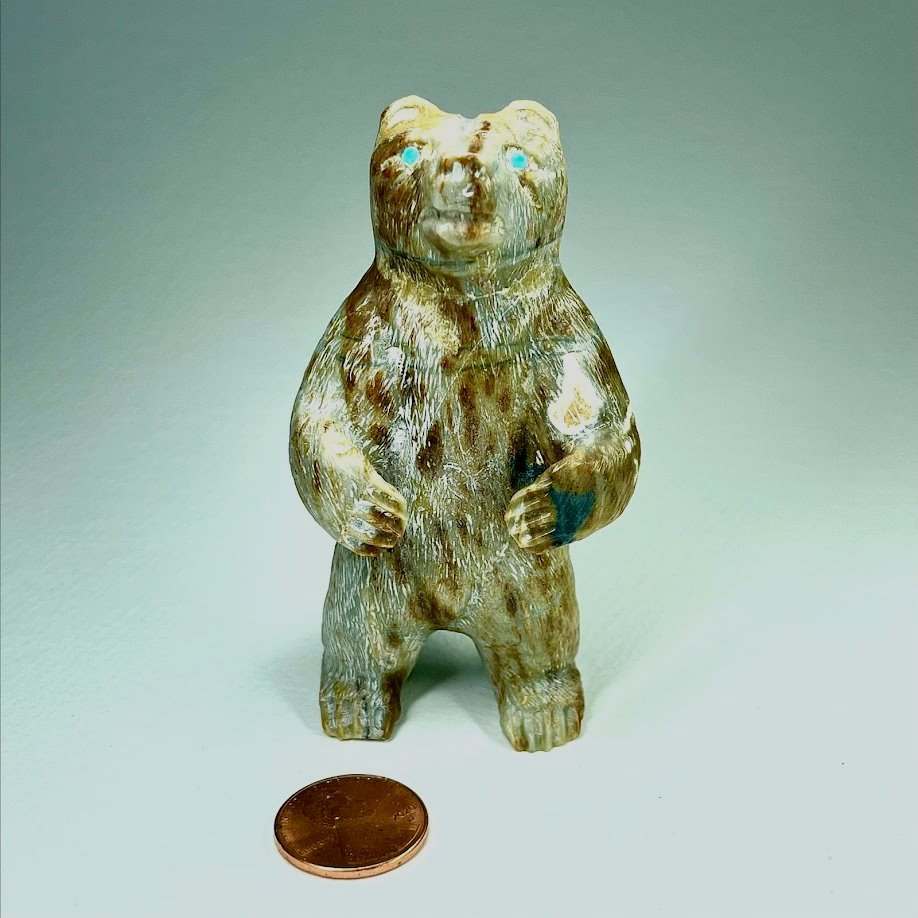Emery  Boone   Jet, Inlaid   Bear   Price: $65. plus shipping, depending on your location   Texas sales tax applies to Texas Residents!   CLICK  IMAGE for more views & information.   Authentic Zuni fetishes direct from Zuni Pueblo to YOU  from Zunispirits.com!