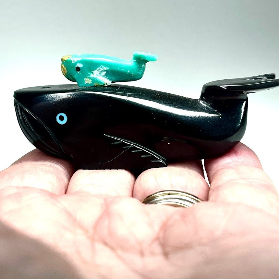 Alex Tsethlekai   Black marble & turquoise   Double Whales   Price: $75. plus shipping, depending on your location   Texas sales tax applies to Texas Residents!   CLICK  IMAGE for more views & information.   Authentic Zuni fetishes direct from Zuni Pueblo to YOU  from Zunispirits.com!
